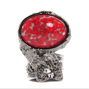 Yves Saint Laurent YSL Red & Silver Arty Oval Ring